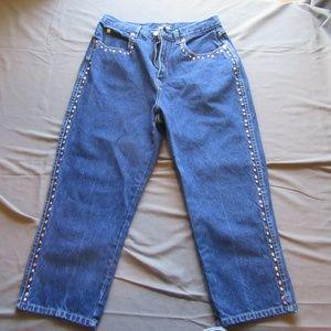 Womens Vtg Baccini Studded Capri Pants Jeans Sz 6